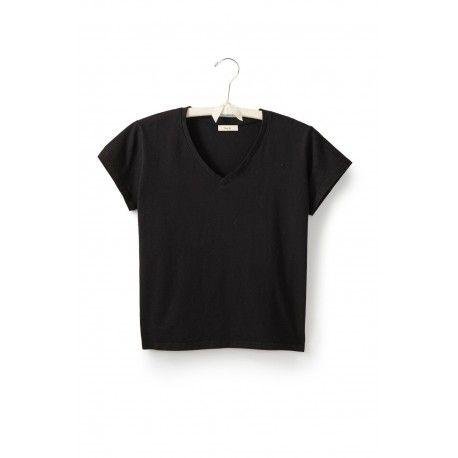 T-shirt short sleeve V-neck in black cotton
