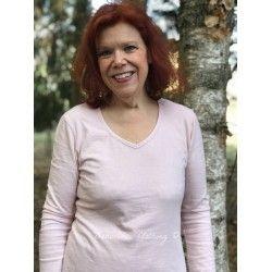T-shirt manches longues col V en jersey de coton rose