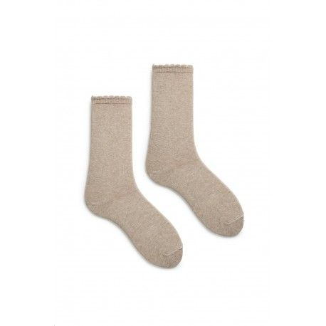 socks scallop-edge in flax cotton