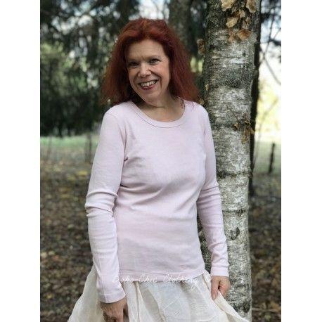 T-shirt manches longues col rond en jersey de coton rose