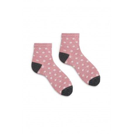 socks dot anklet in mauve cotton