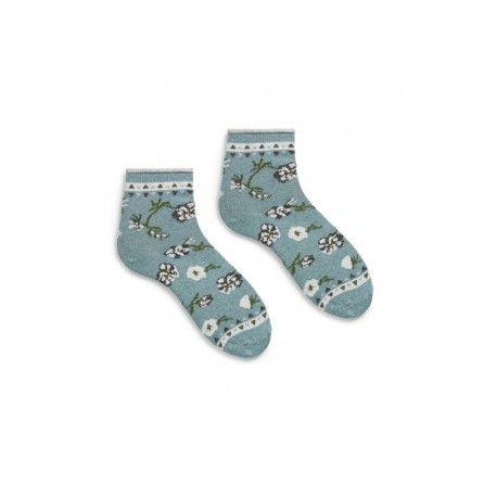 chaussettes floral anklet en coton bleu mineral