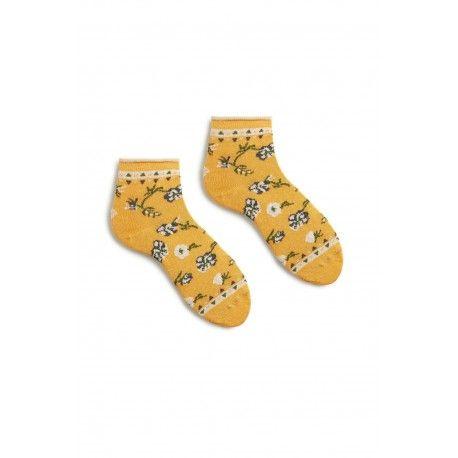chaussettes floral anklet en coton jaune