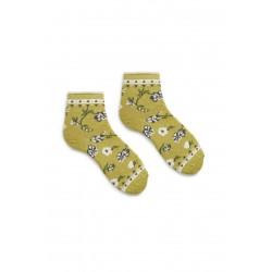 chaussettes floral anklet en coton vert clair