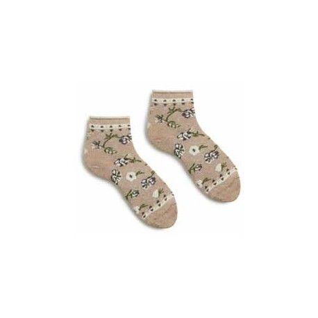 chaussettes floral anklet en coton taupe