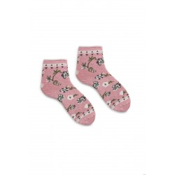 chaussettes floral anklet en coton mauve
