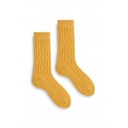 socks chuncky cable in yellow wool and cashmere
