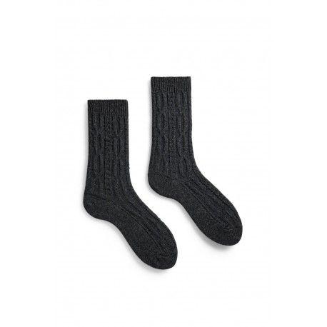 chaussettes chuncky cable en laine et cachemire gris foncé