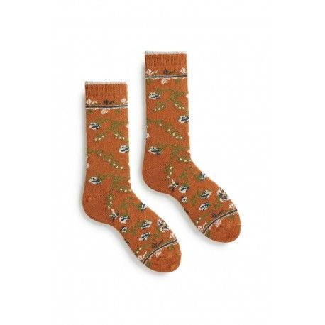 socks floral in toffee wool and cashmere