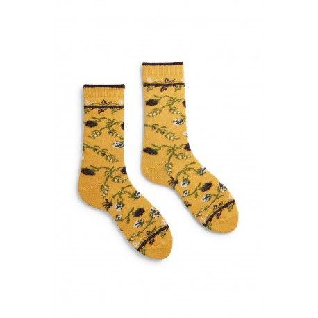 chaussettes floral en laine et cachemire jaune