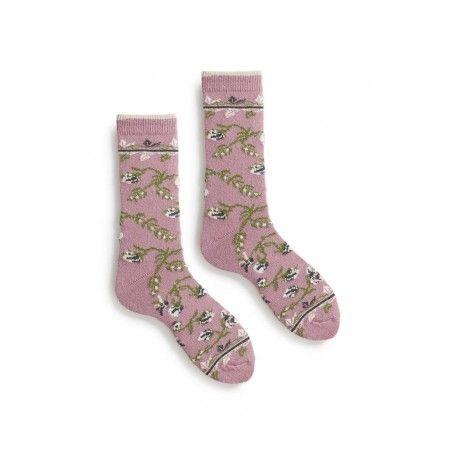 chaussettes floral en laine et cachemire mauve