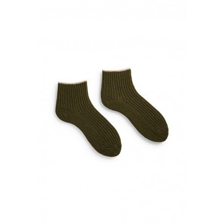 chaussettes tipped rib shortie en laine et cachemire vert olive