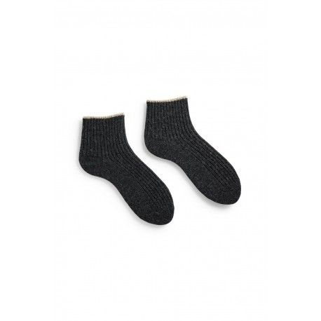 socks tipped rib shortie in charcoal wool and cashmere