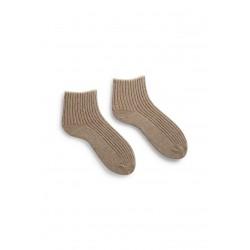 chaussettes tipped rib shortie en laine et cachemire beige