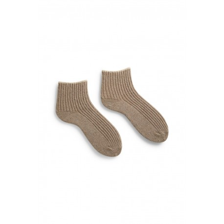 socks tipped rib shortie in mushroom wool and cashmere