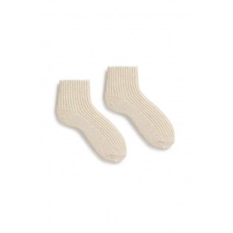 socks tipped rib shortie in creme wool and cashmere