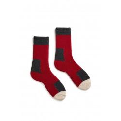 chaussettes patch en laine et cachemire rouge