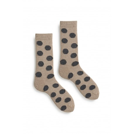 socks giant dot in mushroom wool and cashmere