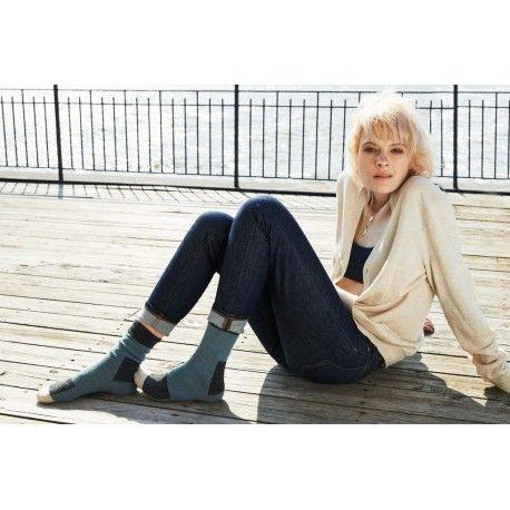 chaussettes patch en laine et cachemire bleu mineral
