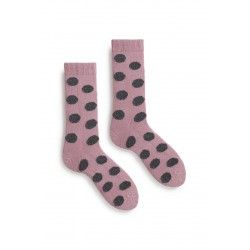 socks giant dot in mauve wool and cashmere