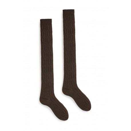 chaussettes cable over-the-knee en laine et cachemire café