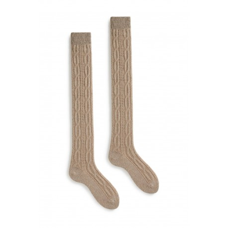 socks cable over-the-knee in mushroom wool and cashmere