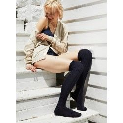 socks cable over-the-knee in navy wool and cashmere