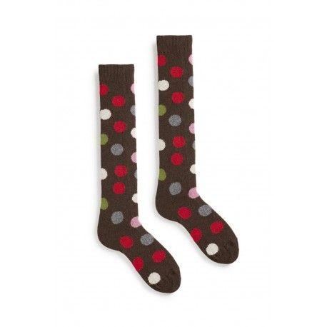 chaussettes multi color dot knee high en laine et cachemire café