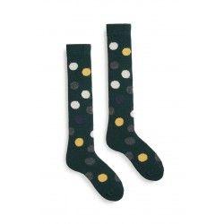 chaussettes multi color dot knee high en laine et cachemire vert foncé