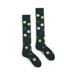 socks multi color dot knee high in ivy wool and cashmere