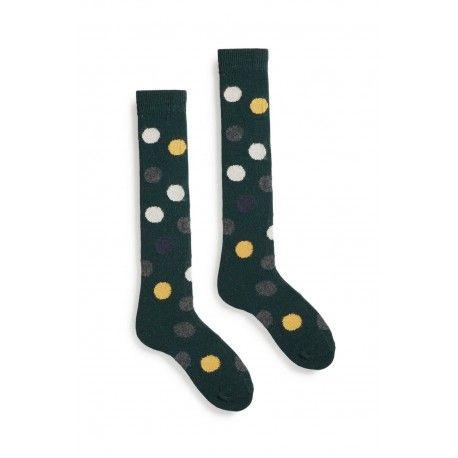 chaussettes multi color dot knee high en laine et cachemire vert foncé lisa b. - 1