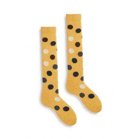 socks multi color dot knee high in yellow wool and cashmere