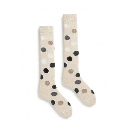 socks multi color dot knee high in creme wool and cashmere