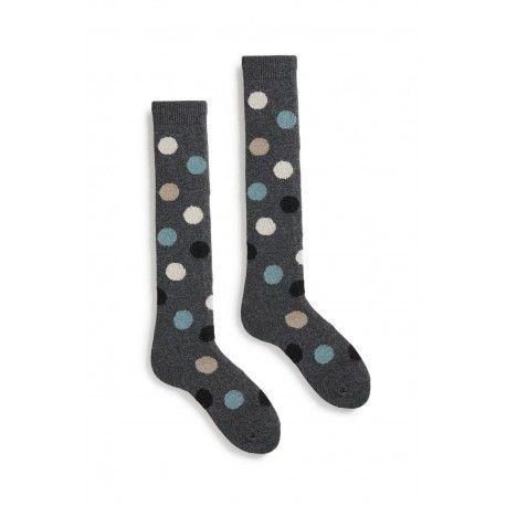 chaussettes multi color dot knee high en laine et cachemire gris foncé