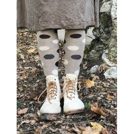 socks multi color dot knee high in mushroom wool and cashmere