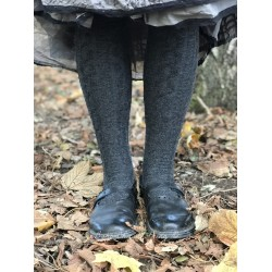 socks cable over-the-knee in charcoal wool and cashmere
