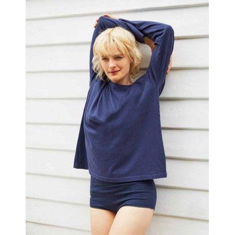 T-shirt manches longues col rond coupe ample en jersey de coton bleu foncé