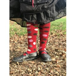 socks multi color dot knee high in red wool and cashmere