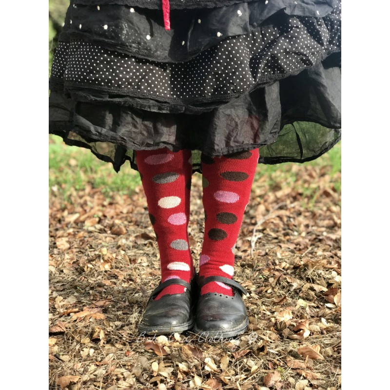 aecc608f63e socks multi color dot knee high in red wool and cashmere - Boho-Chic ...