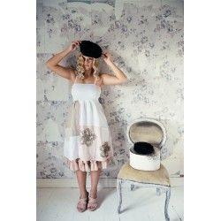 robe Delightful dreams en lin et coton blanc, rose et naturel Jeanne d'Arc Living - 1