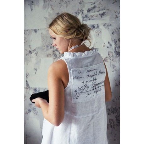 gilet Memorable hearts en lin blanc