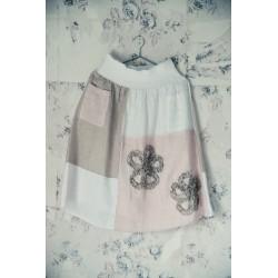 jupe Delightful dreams en lin et coton blanc, rose et naturel