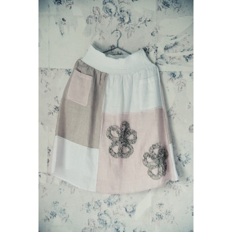 skirt Delightful dreams in White, Pink and Natural Linen and Cotton