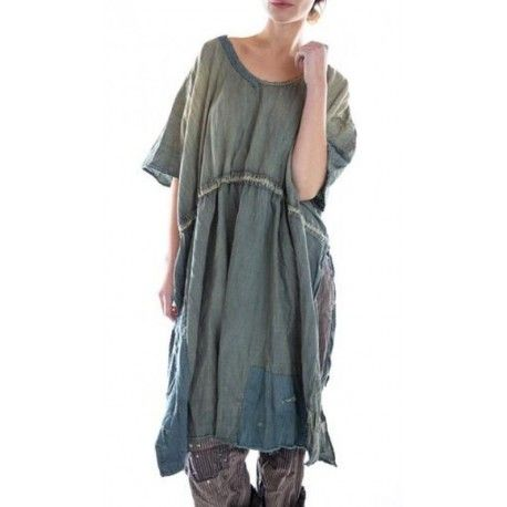 robe Blessings Drawstring Kaftan in Washed Indigo