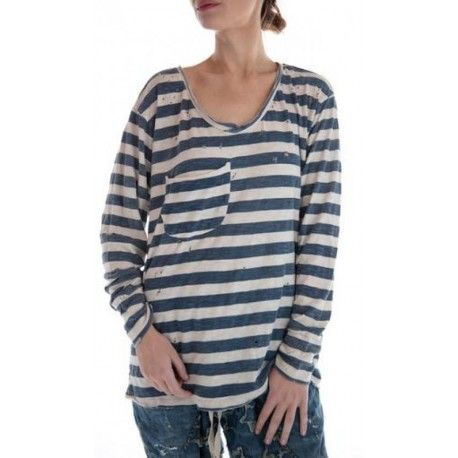 T-shirt Nautical Sofiane Long sleeves in Indigo