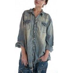 chemise Snap in Washed Indigo