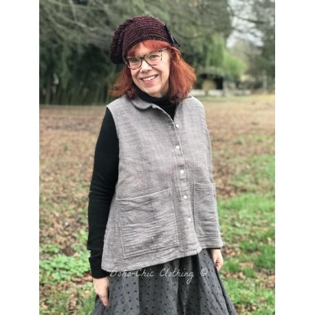 veste courte sans manches INES coton khadi gris avec intérieur fleurs