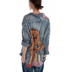 chemise American Indian Embroidered Adison Workshirt in Denim