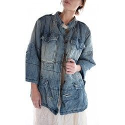 veste Love Militia Puff in Washed Indigo