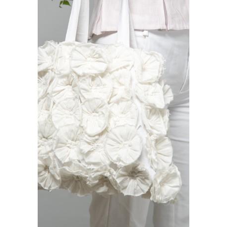 bag Flower rosettes in White cotton
